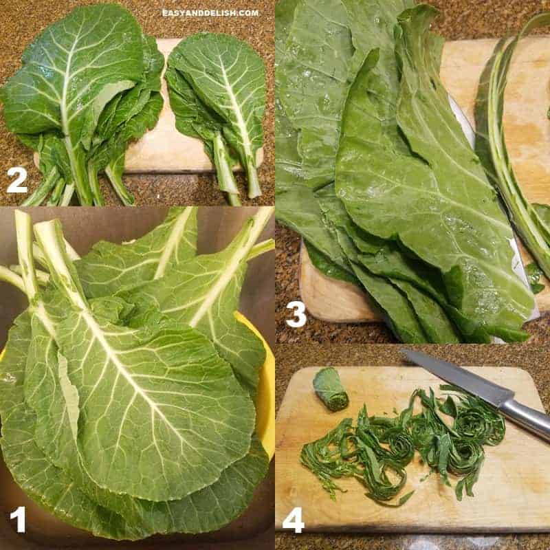 collage image showing in 4 steps how to clean and cut collard greens properly in order to make couve a mineira or fried collard greens