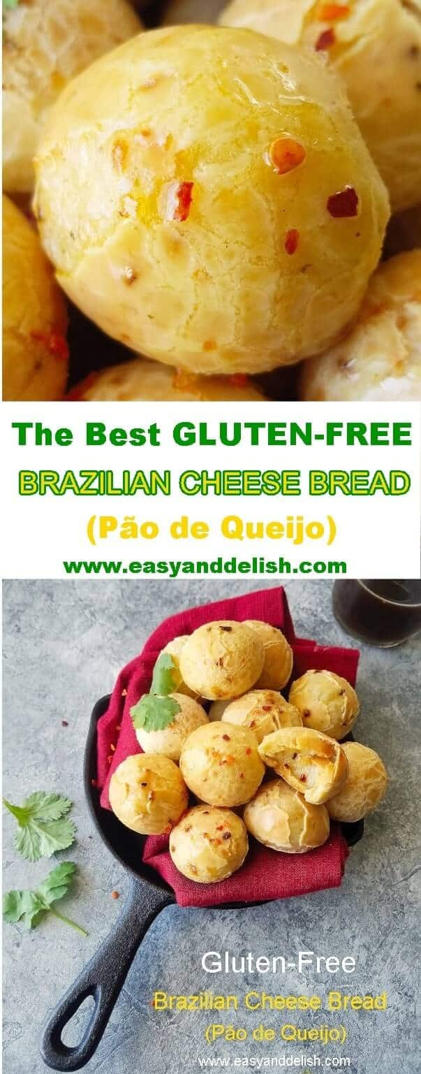 2 combined images showing Brazilian cheese bread
