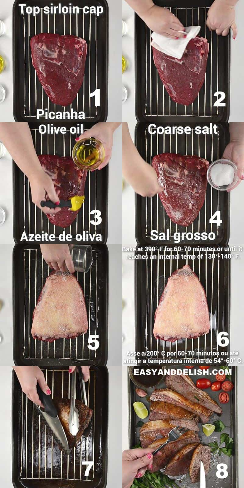 image collage showing how to amke picanha roast in 8 steps