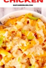 a bowl of chicken mac and cheese