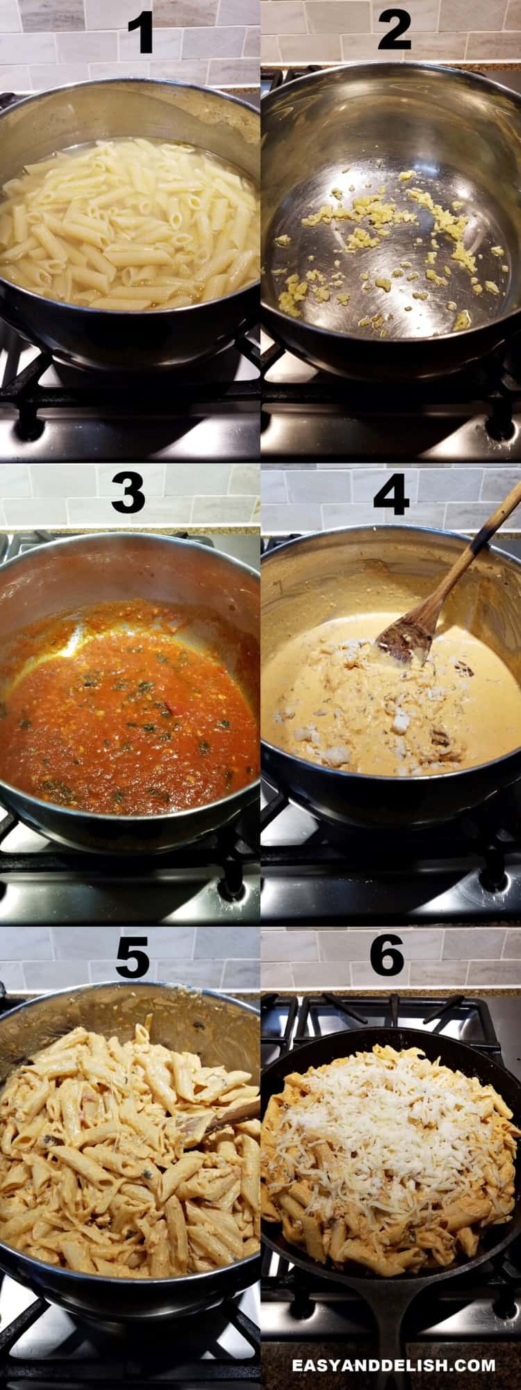 photo collage of mac and cheese with chicken cooked on a stovetopa dn baked in the oven
