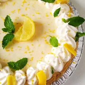 close up of half of easy lemon pie with condensed milk
