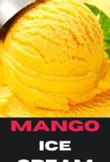 CLOSE OF OF A SCOOP OF MANGO ICE CREAM