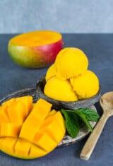 mango sorbet ice cream in a bowl