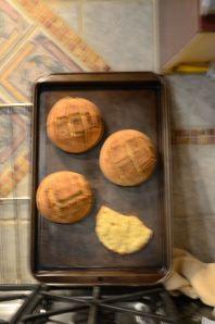 Portuguese corn bread in a pan