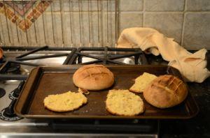Portuguese cornbread in a pan over the stove