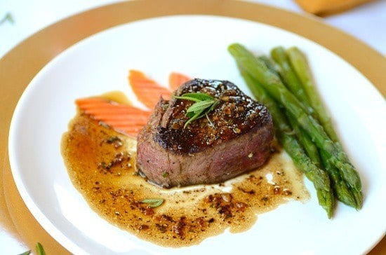 filet mignon with madeira sauce in a plate