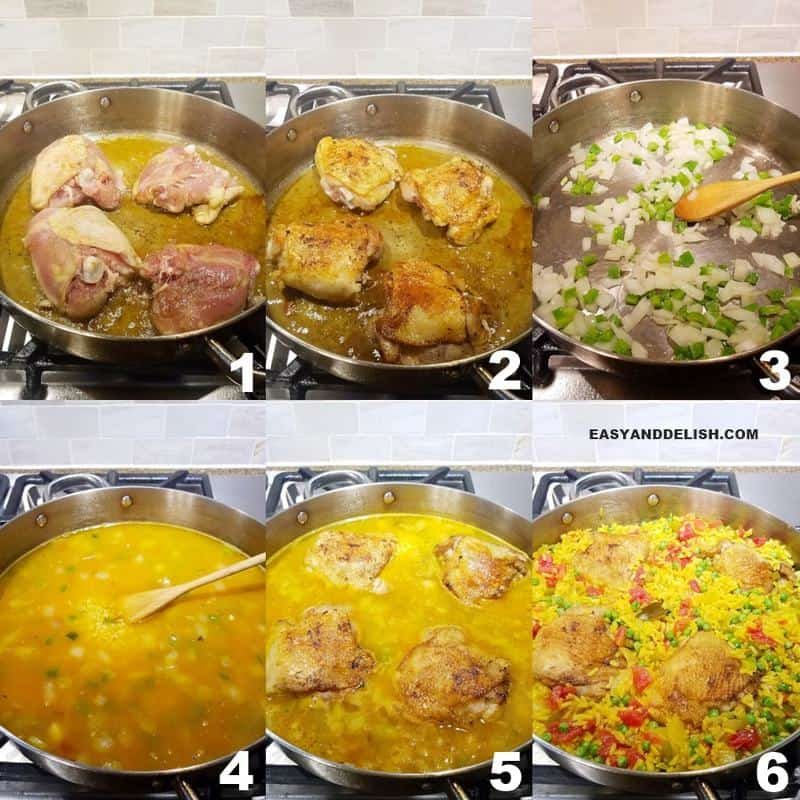 a collage image showing in 6 steps how to make galinhada (saffron rice with chicken)