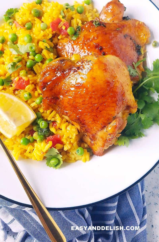 close up of galinhada mineira in a plate