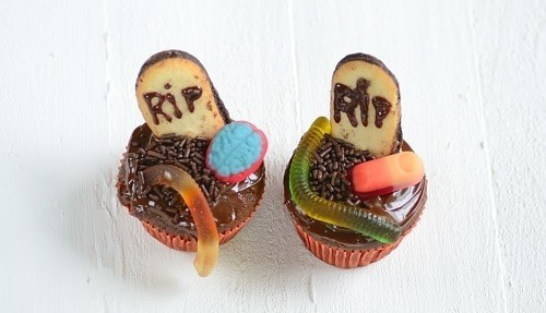 Cupcakes decorated as graveyards