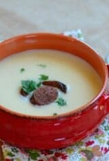 Potato Bisque with Chouriço in Red Wine