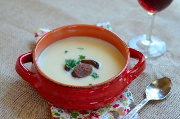 Potato Bisque with Chorico in Red Wine