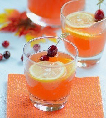 glasses with cranberry cocktail