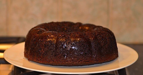 prune cake after being baked