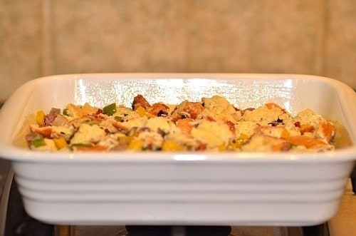 savory bread pudding in a baking dish