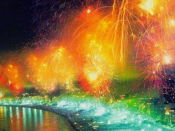 Reveillon celebration in Rio de Janeiro with fireworks