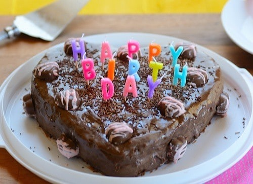 a cake with birthday candles on top