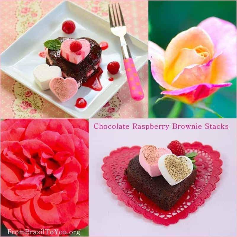 Chocolate Raspberry Brownie Stacks