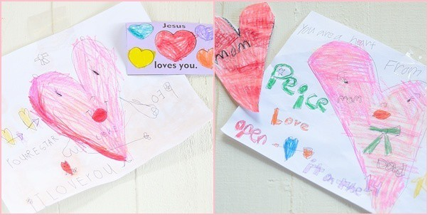 photo collage of drawings and cards for V-day