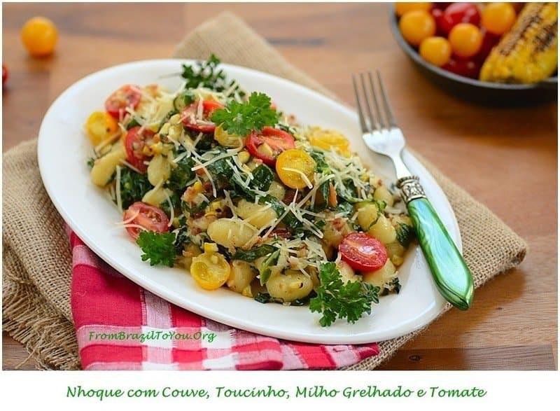 Nhoque com Couve, Toucinho, Milho Grelhado e Tomate