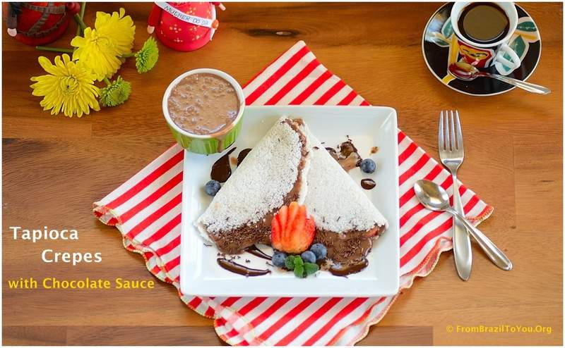 Tapioca Crepes with Chocolate Fudge Sauce