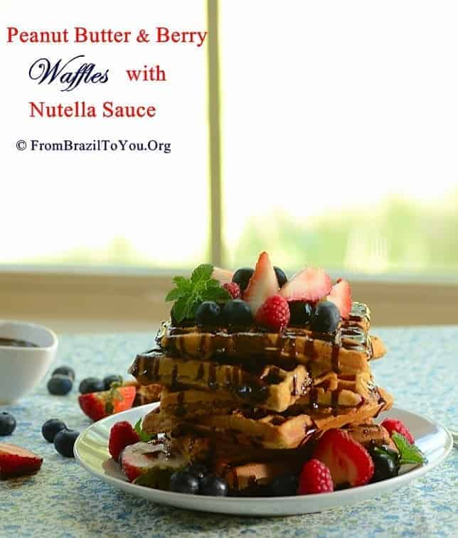 Peanut Butter and Berry Waffles with Nutella Sauce