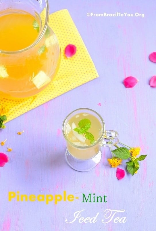 Homemade Pineapple-Mint Iced Tea (made from pineapple peels)