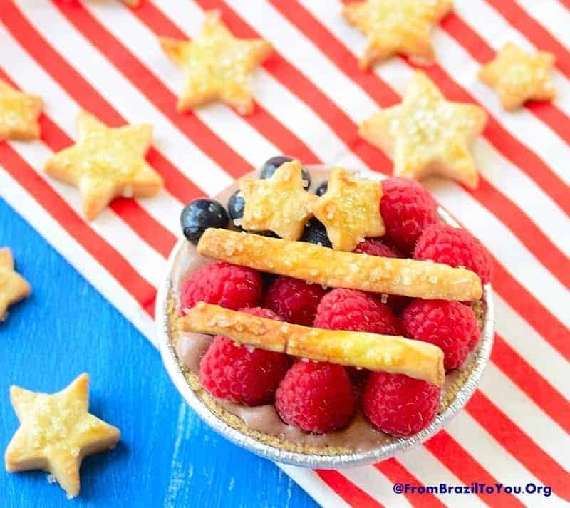 Chocolate Pudding Ice Cream Pie over flag with star crust all over