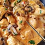 close up image of Brazilian chicken stroganoff in a pan