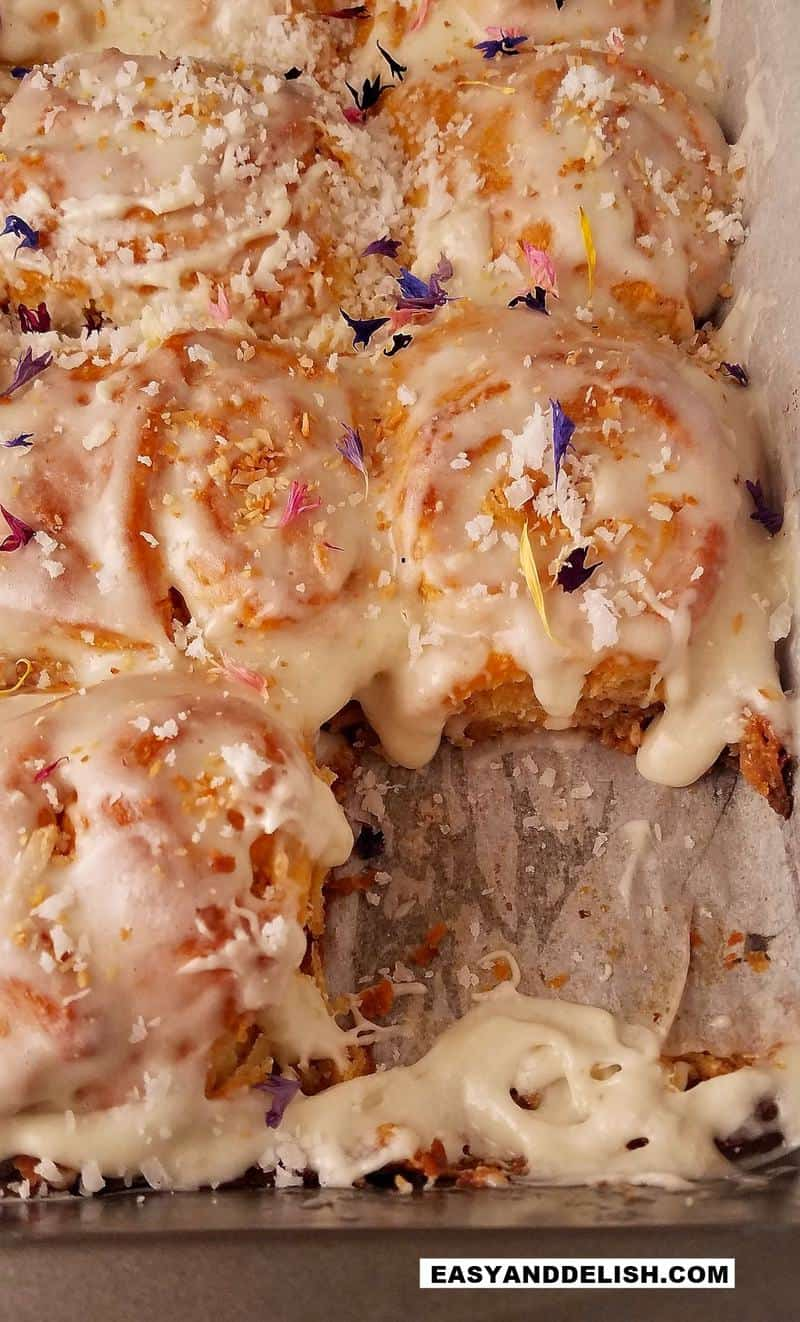 coconut rolls with dried edible flowers