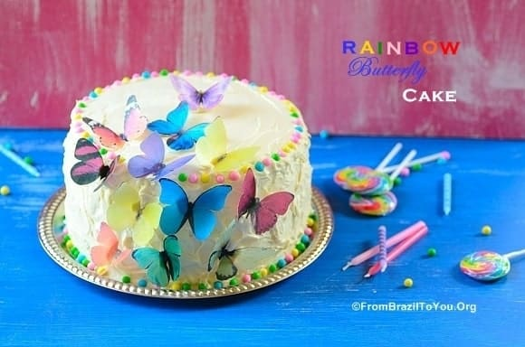 Rainbow Butterfly Cake With Cloud Buttercream Frosting