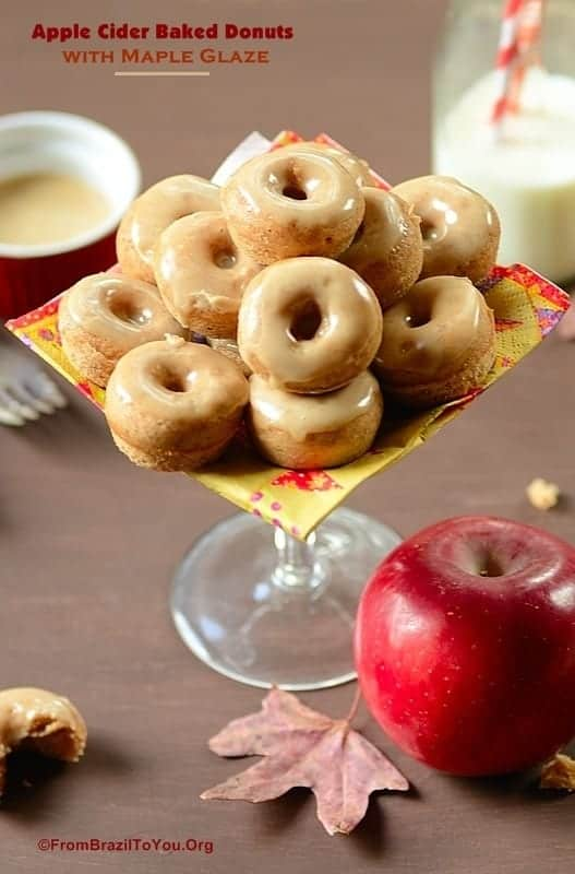 Apple Cider Baked Donuts with Maple Glaze on a platter