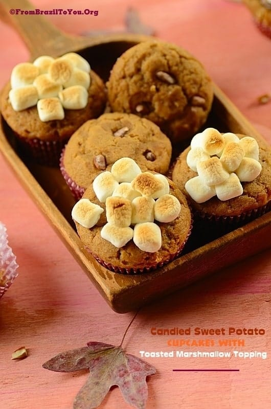 Candied Sweet Potato Cupcakes served in a tray