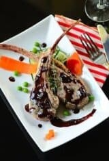 Pan-Seared Lamb Chops with Blueberry-Balsamic Reduction