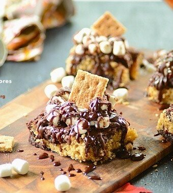 several slices of s'mores brownies on a platter