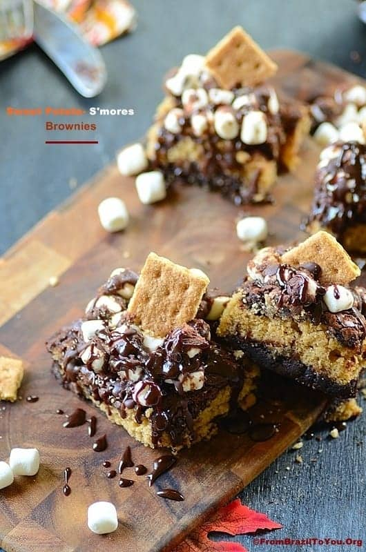 Sweet Potato-Smores Brownies served on a tray