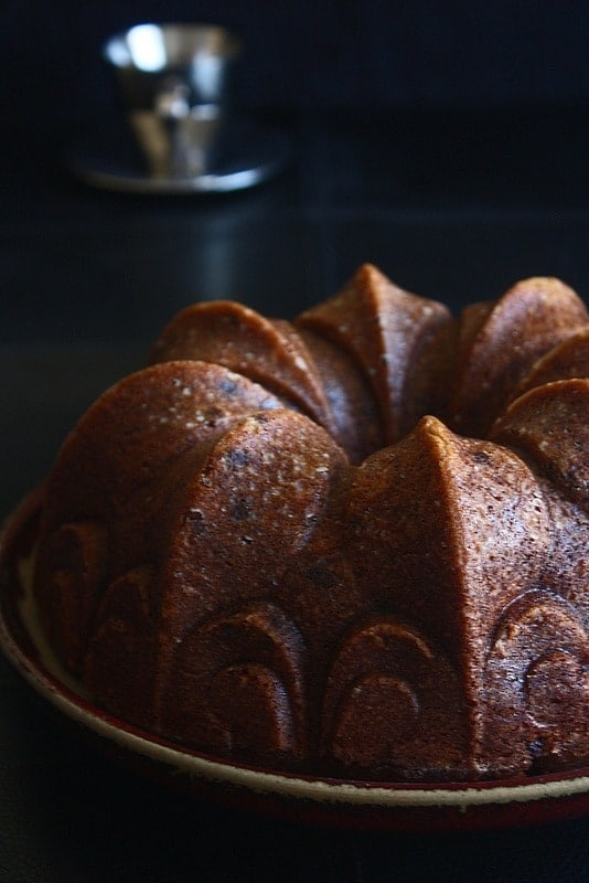 GF Banana Apple Bundt Cake inverted in a plate