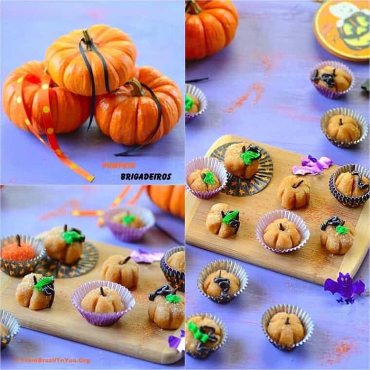 Three combined images showing Pumpkin Brigadeiros displayed in a tray.