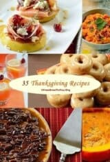 Many different types of foods in a photo collage for Thanksgiving