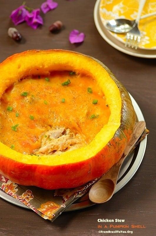 Chicken Stew in a Pumpkin Shell (Frango na Moranga)