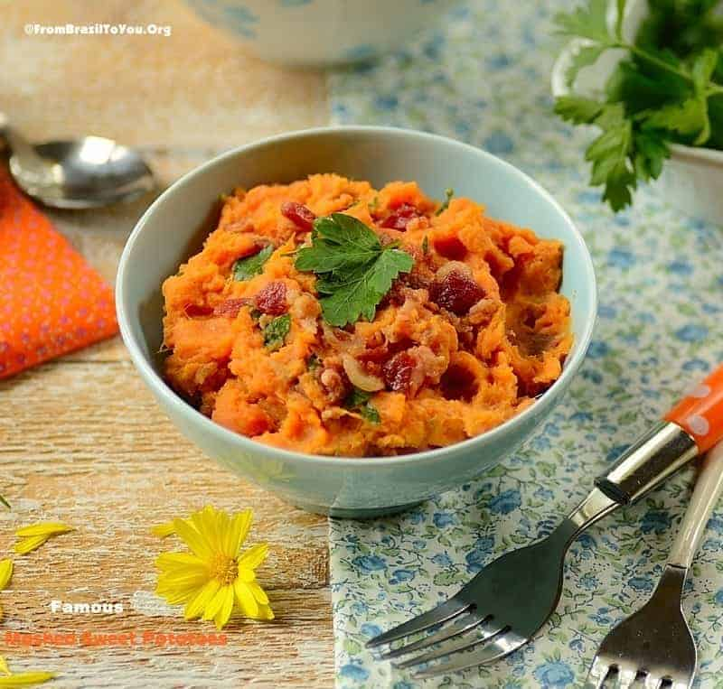 Famous Mashed Sweet Potatoes with Coconut Milk, Bacon, and Cilantro