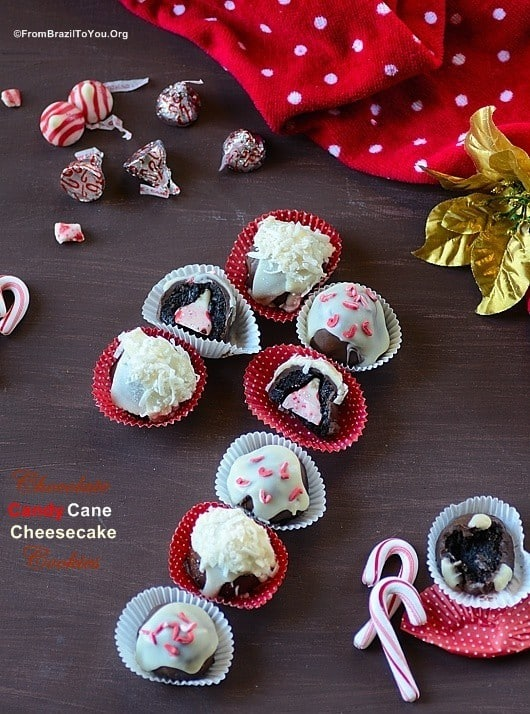 No Bake Chocolate Candy Cane Cheesecake Cookies