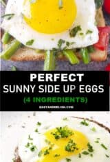 two collage images showing side side up eggs over toast