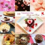 A photo collage with different types of food for Valentine's Day