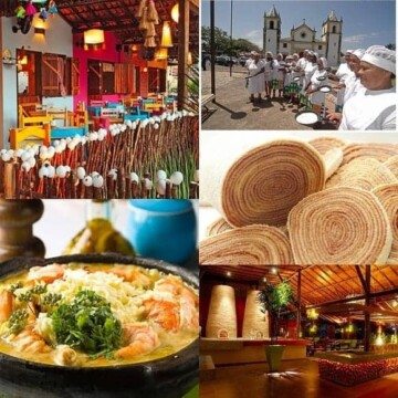 A photo collage of food and places to eat in Recife and Olinda, Brazil.