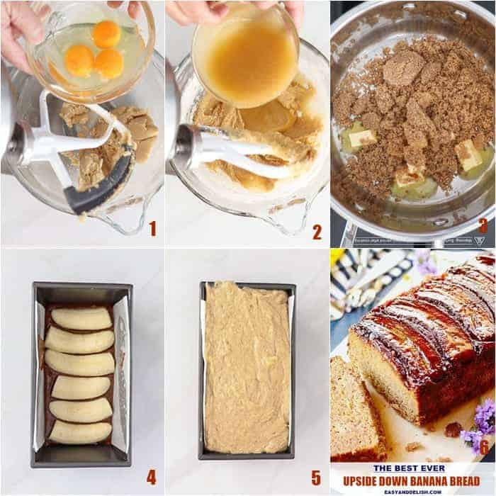 photo collage of cooking directions for upside down banana bread