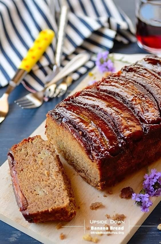 Upside Down Banana Bread, part whole and past sliced served on a platter