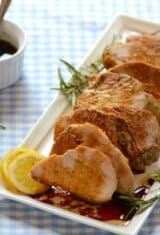 Easy Roasted Garlic Pork Loin with Wine Sauce
