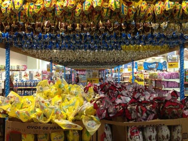 Easter eggs hanging at a store as part of Easter celebration in Brazil