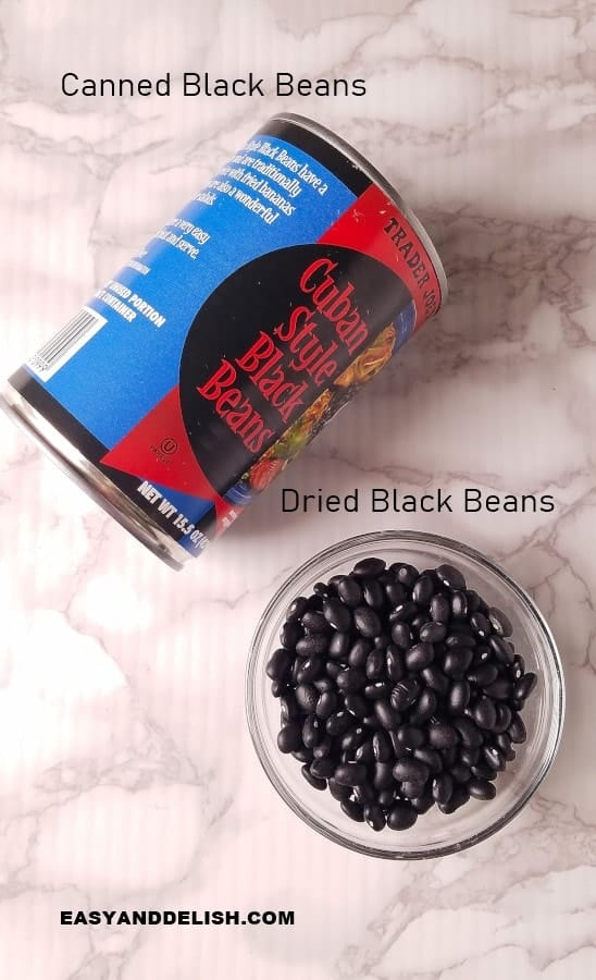 a can of black beans and a small bowl of dried black beans